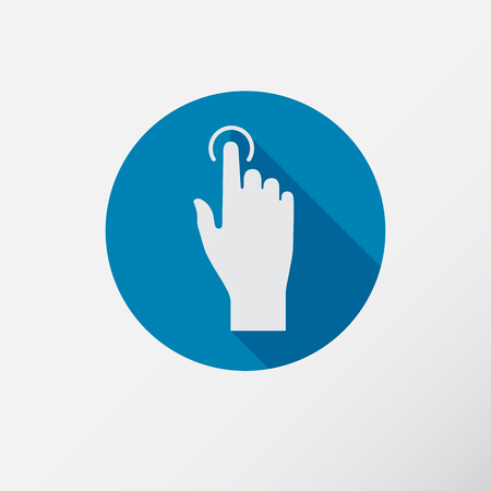 click here: Touch icon, hand with pressed finger in flat style Illustration