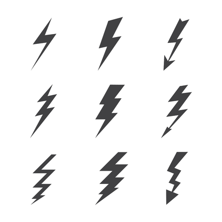 Weather lightning silhouettes on white background Vector