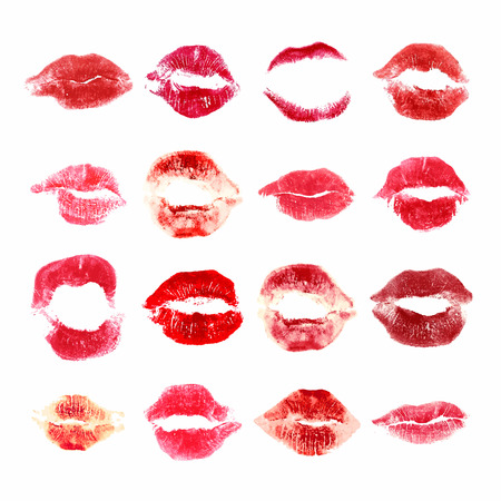 kiss lips: Set of woman lips on white background