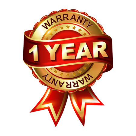 1 year warranty golden label with ribbon