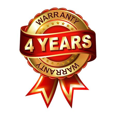 4 years warranty golden label with ribbon
