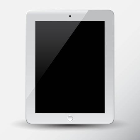 White tablet PC. Isolated on white background. Vector illustration.