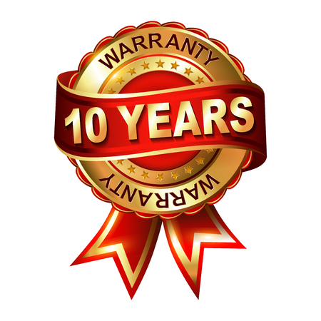 10 years warranty golden label with ribbon. Vector illustration. Ilustração