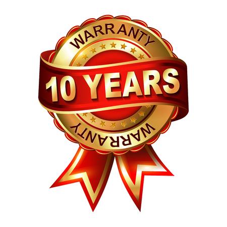 1 year warranty: 10 years warranty golden label with ribbon. Vector illustration. Illustration