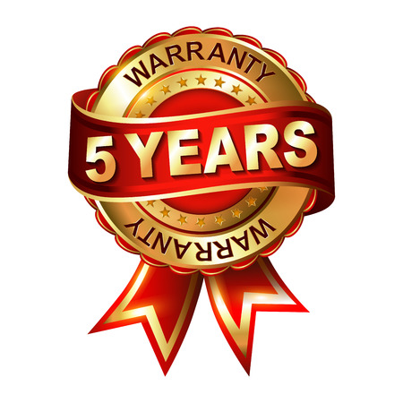 5 years warranty golden label with ribbon. Vector illustration.