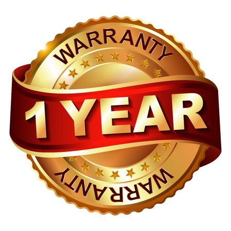 1 year warranty: 1 year warranty golden label with ribbon. Vector illustration.