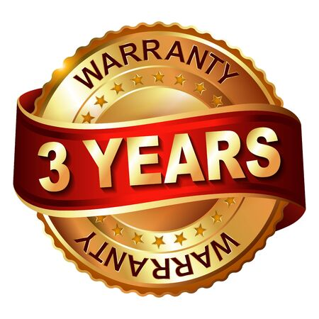 3 years warranty golden label with ribbon. Vector illustration.