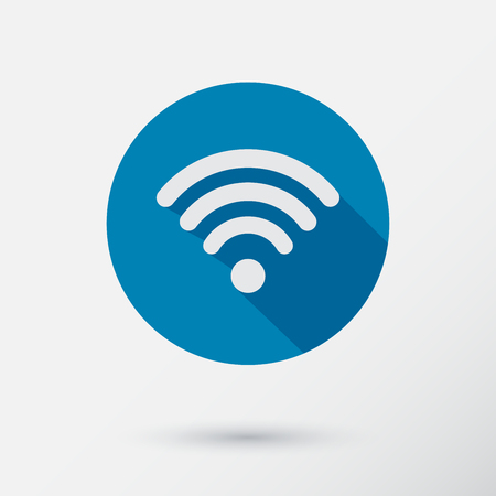 Computer wifi connection icon for a phone or mobile device in flat design.Vector Illustration. Vector