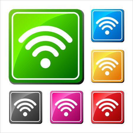 Set of different wifi icons, buttons for design.Vector Illustration.
