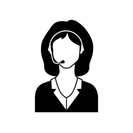 black phone and call: Call center female avatar icon.    Vector Illustration. Illustration