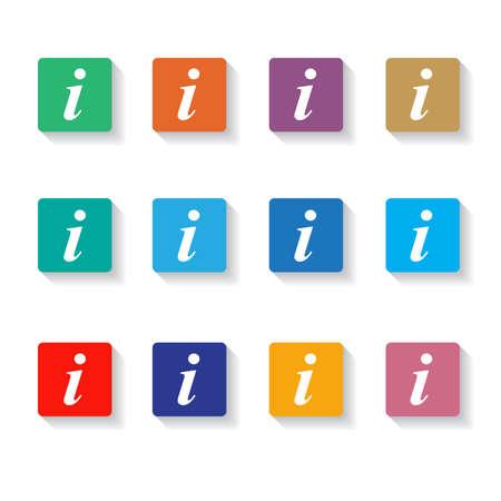 information symbol: Set of different information buttons for design. Info square symbol.    Vector Illustration.