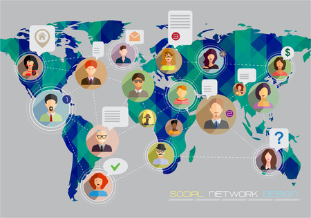 Social network concept. Flat design for web sites and infographic design. Earth Geometric Map. Vector Illustration.
