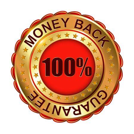 Money Back Guarantee golden label. Vector illustration. Vector