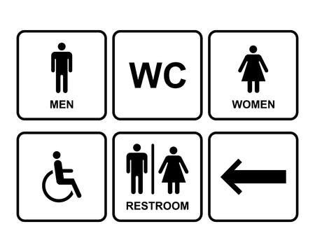 men and women: Male and Female Restroom Symbol Icons Set with men,women, arrow and disability.  Vector Illustration.