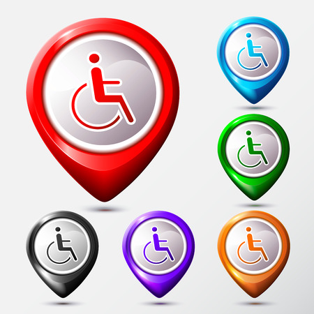 Set of Map Location disabled icon sign.  Vector Illustration.