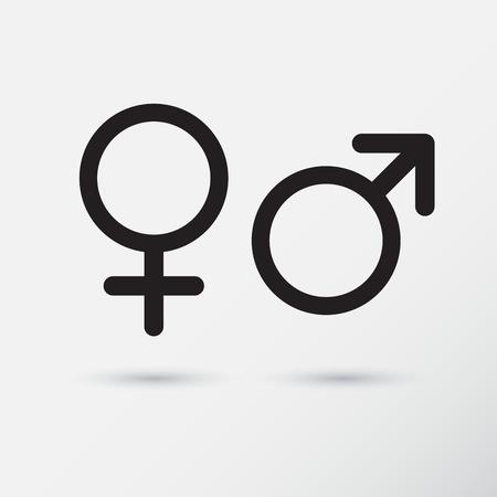 Gender symbol icons. Vector Illustration.