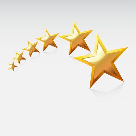 shinning: Gold star.     Vector Illustration.