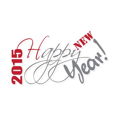 ed: 2015 Happy new year hand lettering. Vector illustration.