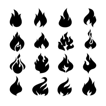 fuoco e fiamme: Fuoco fiamme, icone set. Illustrazione vettoriale. Vettoriali