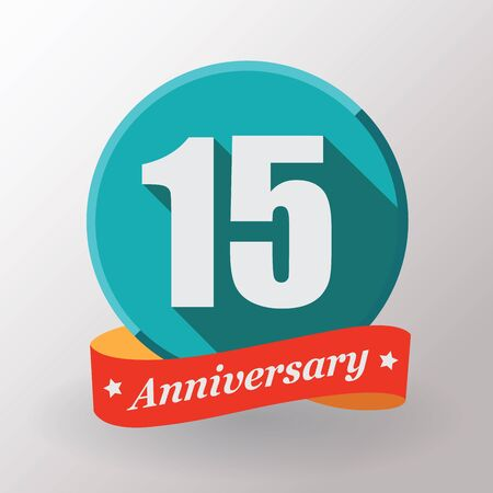 beautiful anniversary: 15 Anniversary  label with ribbon. Flat design.