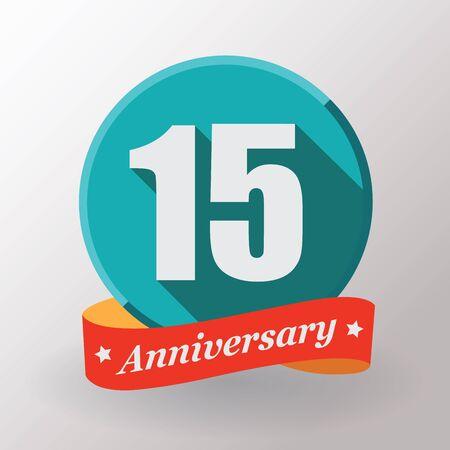 anniversaire: Étiquette 15 anniversaire avec un ruban. Design plat.
