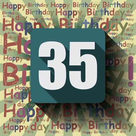 35: 35 Happy Birthday background or card. Flat design.