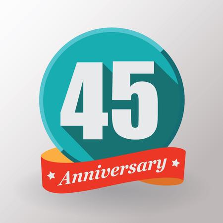 45: 45 Anniversary   label with ribbon. Flat design.