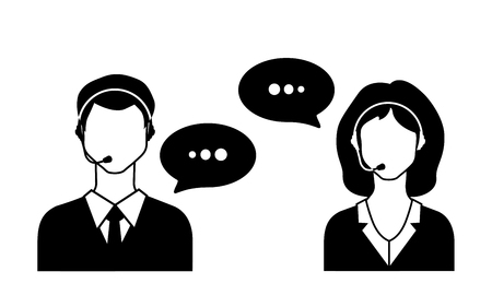anonymity: Male and female call avatar icons with a faceless man and woman wearing headsets with speech bubbles.  Vector Illustration.