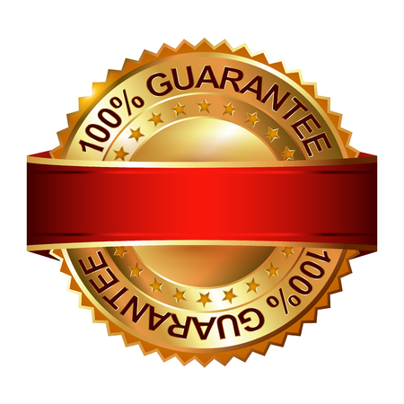 Money Back Guarantee golden label with ribbon.  Vector illustration. Ilustração