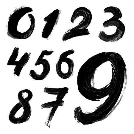 gouache: Black handwritten numbers on white background. Acrylic colors.  Vector Illustration.