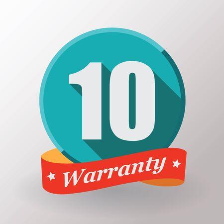 ten years jubilee: 10 Warranty label. Flat design.
