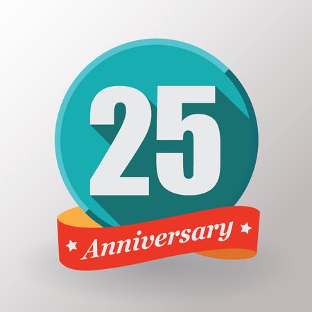 anniversaire: Étiquette 25 anniversaire avec un ruban. Design plat.