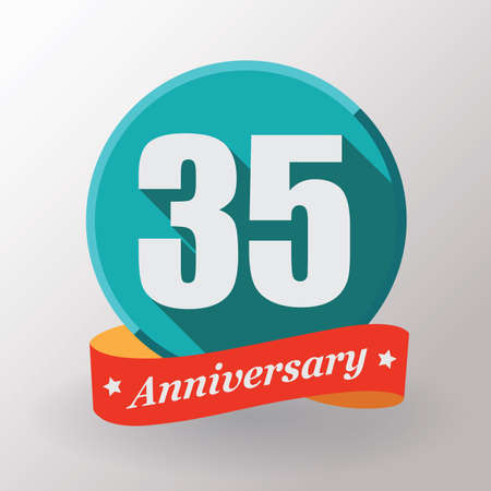 anniversary celebration: 35 Anniversary  label with ribbon. Flat design.