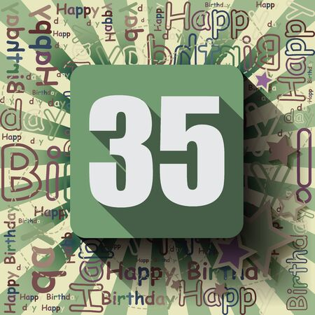 35: 35 Happy Birthday background or card. Flat design.