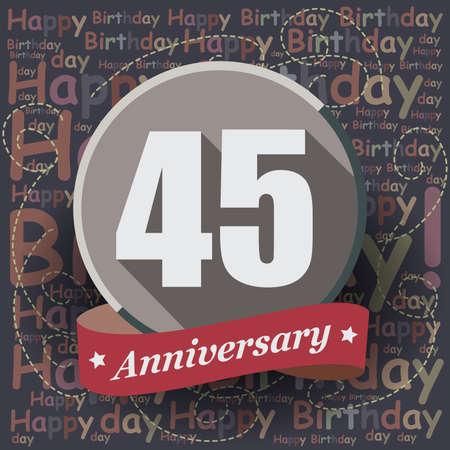 45: 45 Happy Birthday background or card. Flat design.