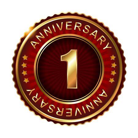 1 year anniversary: 1 year anniversary golden label. Vector illustration. Illustration