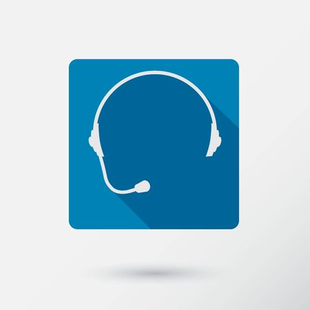 hot secretary: Headphone square icon of support with long shadow. Flat style. Vector Illustration. Illustration