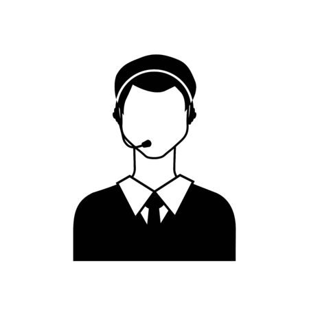 black phone and call: Call center male avatar icon.    Vector Illustration.