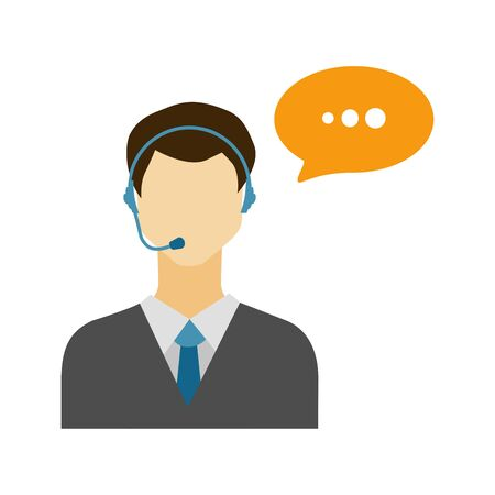 speech bubble vector: Call center male avatar icon with speech bubble.    Vector Illustration.
