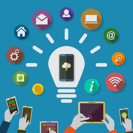 Cloud computing storage and applications on a mobile phone  with a set of icons.Idea. Lighbulb. Vector Illustration.