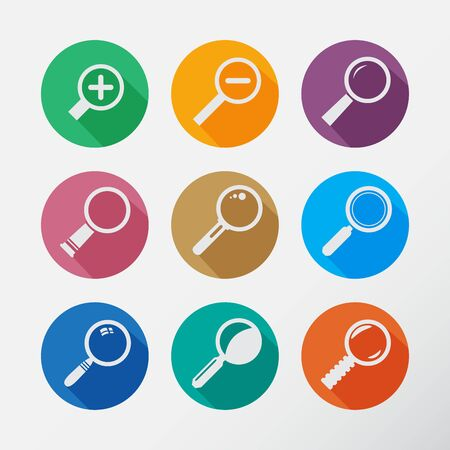 Search With Lupe. Flat style round icons set with long shadow.  Vector Illustration. Vector