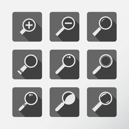 Search With Loupe. Flat style icons set with long shadow.  Vector Illustration. Vector