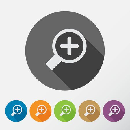 Search With Lupe. Flat style round icons set with long shadow.  Vector Illustration.
