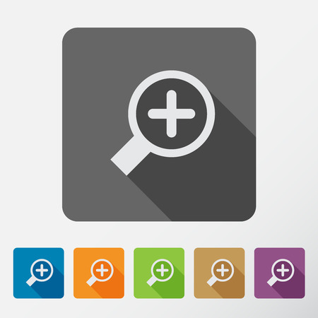 enlarge: Search With Lupe. Flat style square icons set with long shadow.  Vector Illustration.