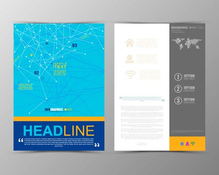 business flyer: Abstract geometric brochure template. Map. Flyer Layout. Flat Style. Infographic Elements. Minimalistic multifunctional media backdrop. Blurred. Icons.   Vector illustration. Illustration