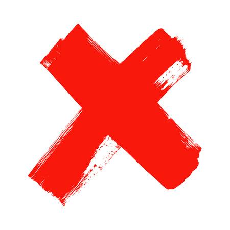 X - lettre manuscrite rouge sur fond blanc. Couleurs acryliques. Vector Illustration.