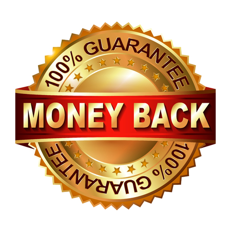 Geld terug garantie gouden label met lint. Vector illustratie.
