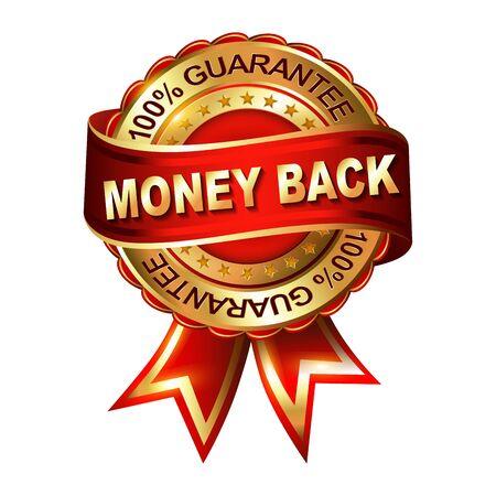 Money Back Guarantee golden label with ribbon.  Vector illustration. Vector