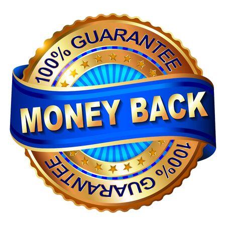 Money Back Guarantee golden label with ribbon. Vector illustration. Vettoriali