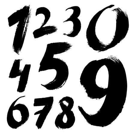 calligraphic: Black handwritten numbers on white background. Acrylic colors.  Vector Illustration.